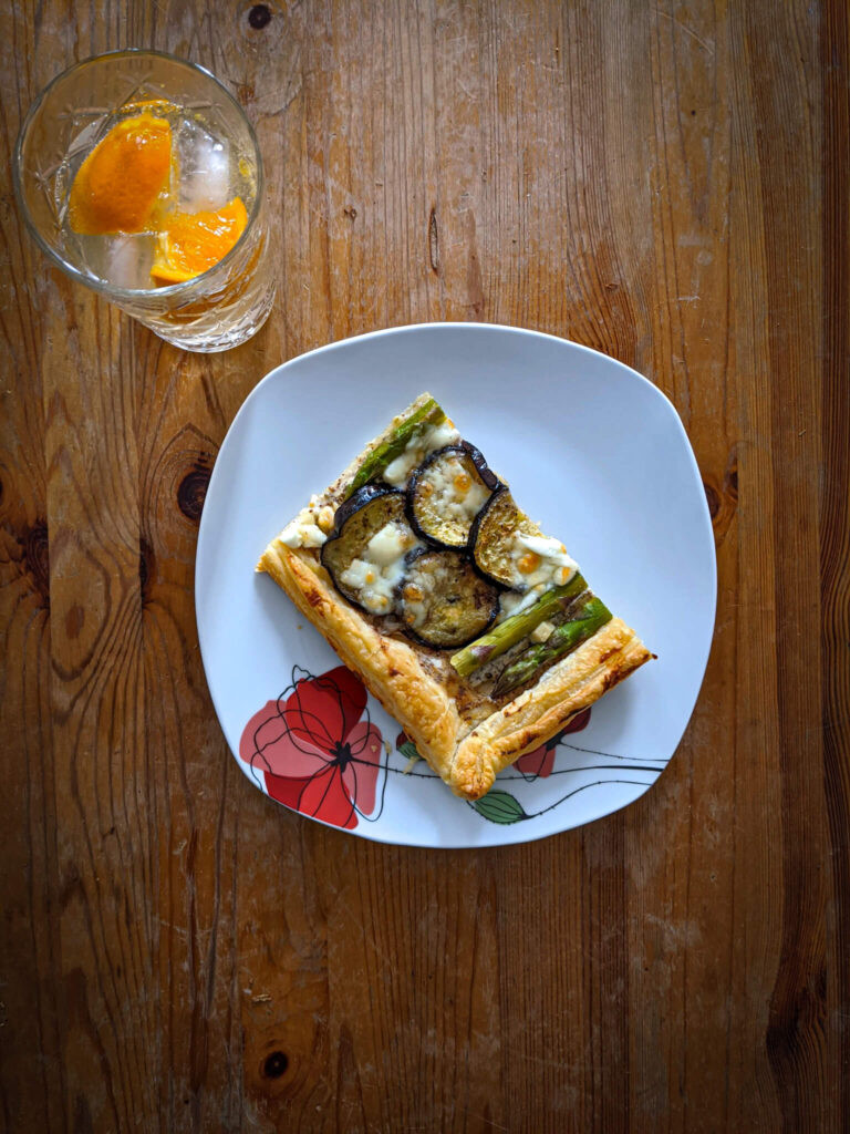 Slice of Veggie puff pastry pizza